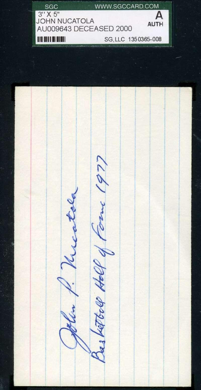 John Nucatola Signed Jsa 3x5 Index Card Hofer Authentic Autograph