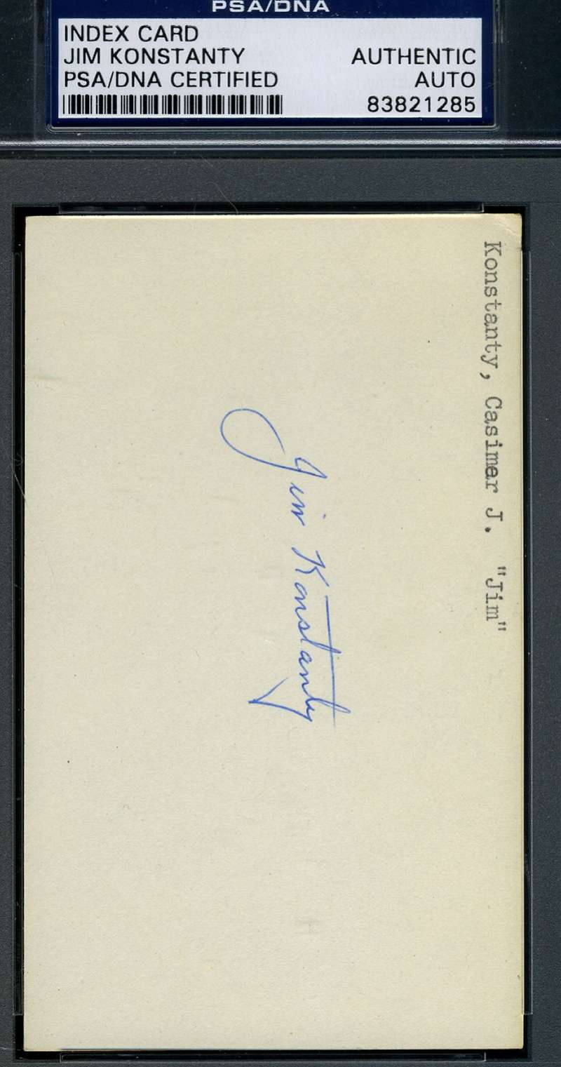 Jim Konstanty Signed Psa/dna Certified 3x5 Index Card Authentic Autograph