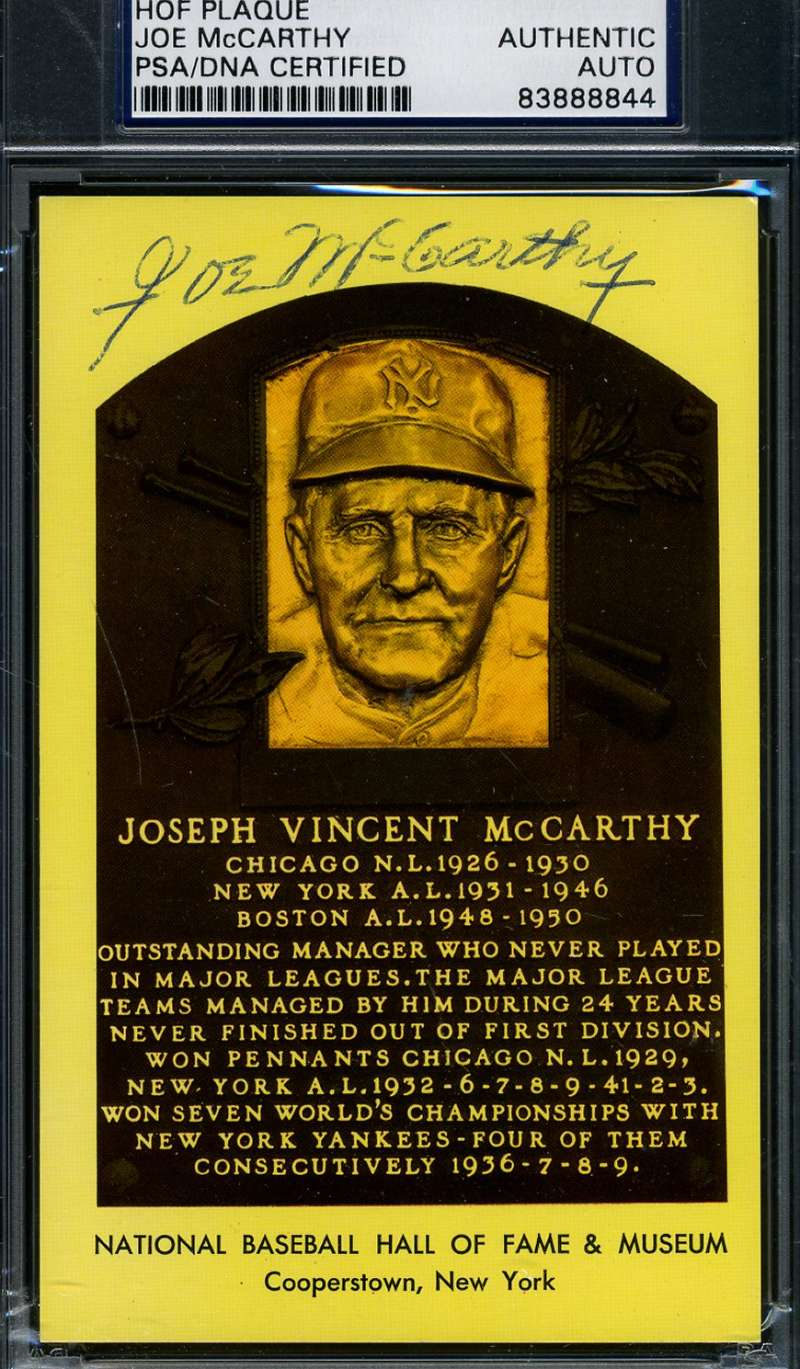 Joe Mccarthy Signed Psa/dna Gold Hof Plaque Authentic Autograph