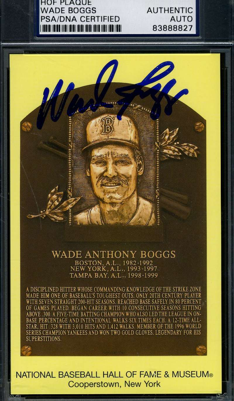 Wade Boggs Signed Psa/dna Gold Hof Plaque Authentic Autograph