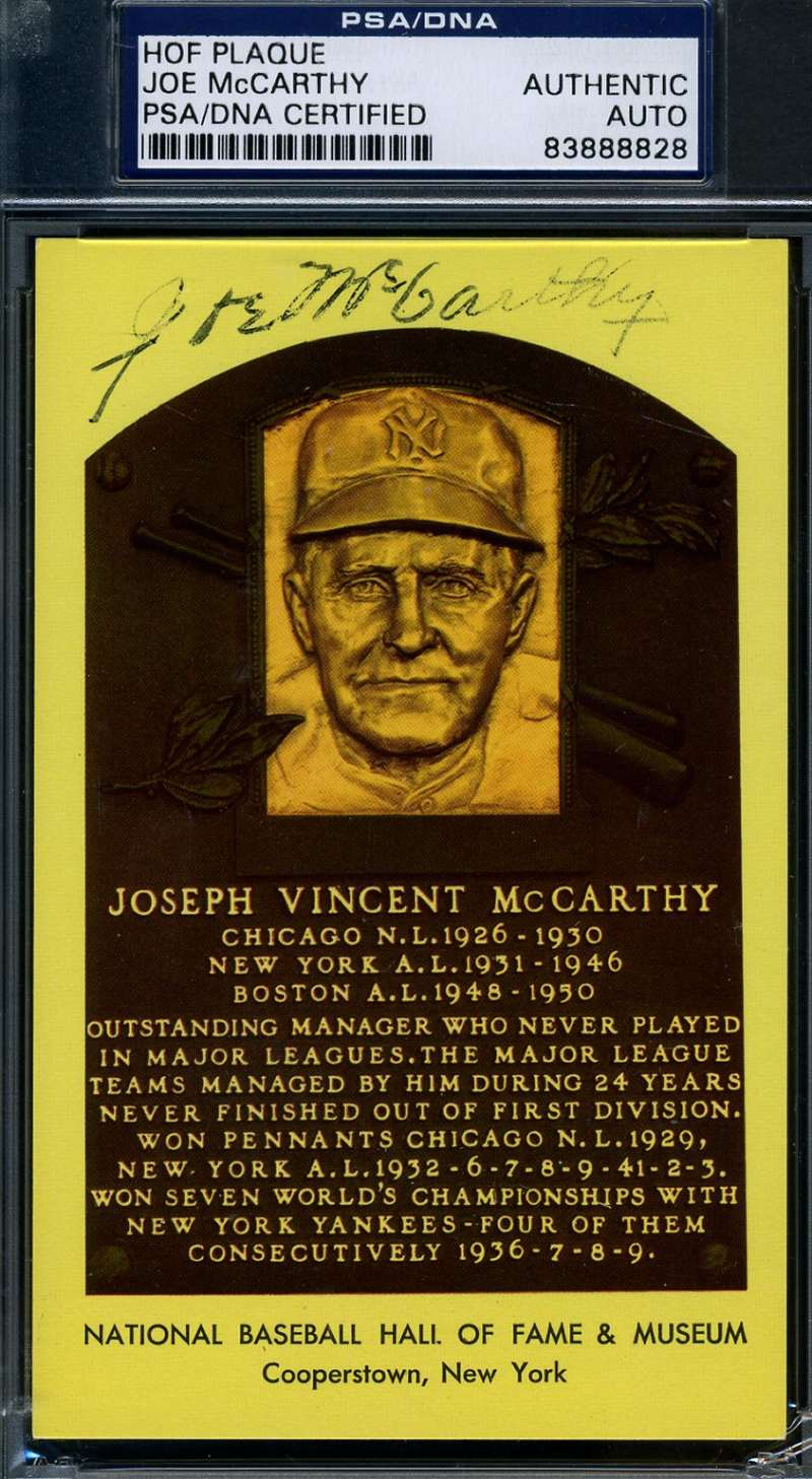 Joe Mccarthy Signed Psa/dna Cert Gold Hof Plaque Authentic Autograph