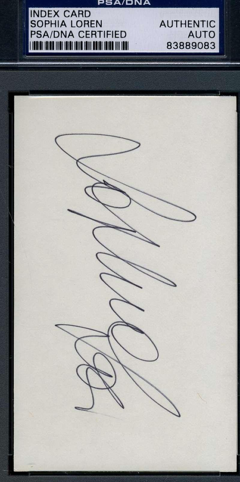 Sophia Loren Signed 3x5 Index Card Psa/dna Certed Authentic Autograph