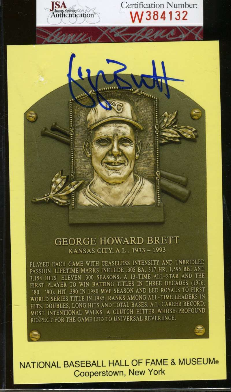 George Brett Signed Jsa Certed Gold Hof Plaque Authentic Autograph