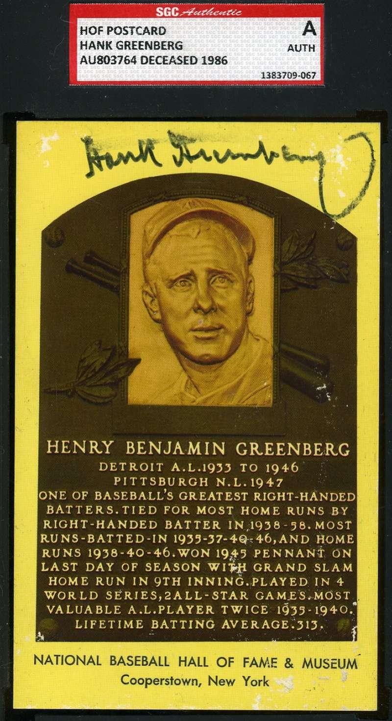 Hank Greenberg Sgc Coa Gold Hof Plaque Authentic  Hand Signed Autograph