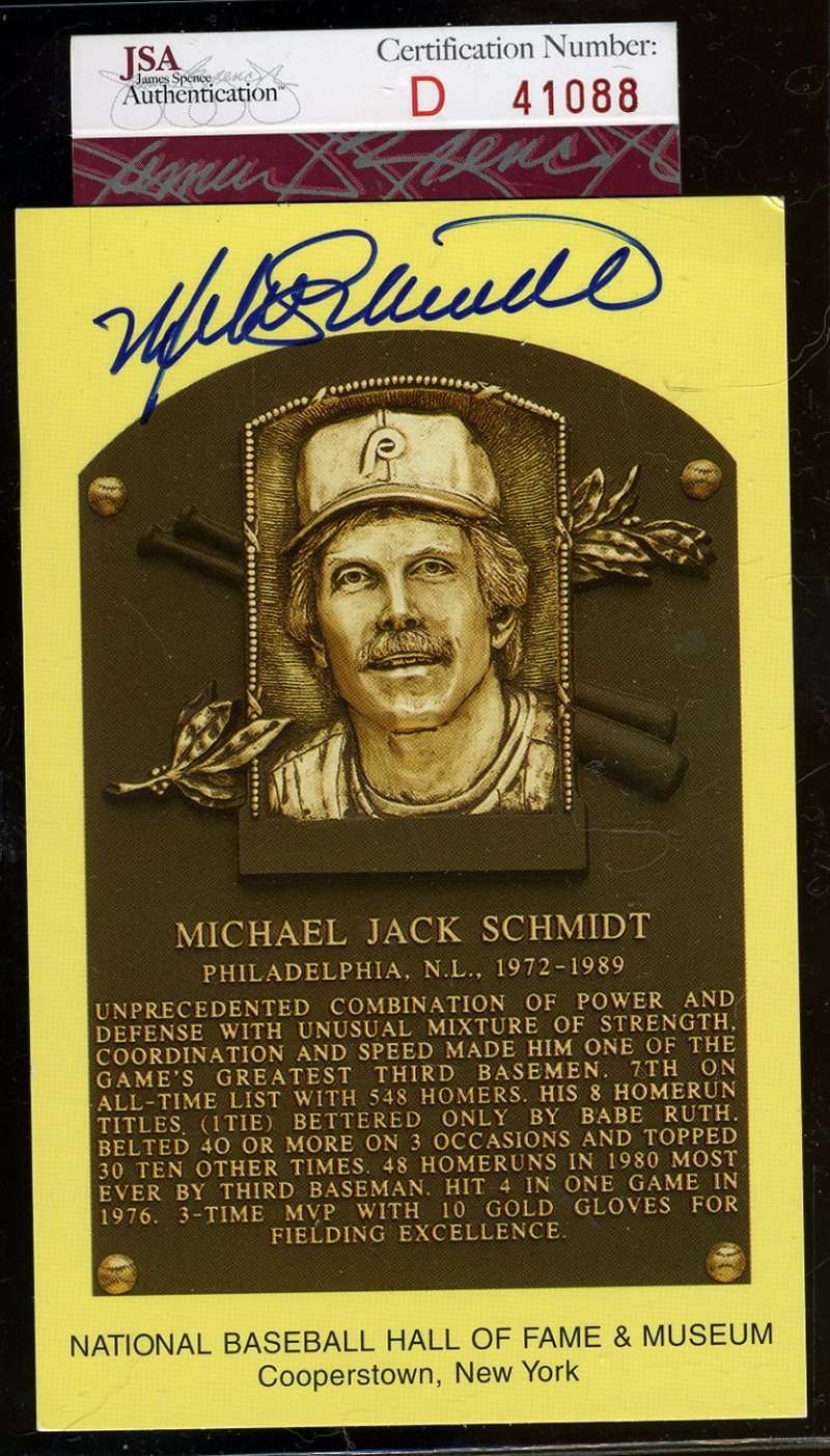 Mike Schmidt Jsa Hand Signed Gold Hof Plaque Authentic Autograph