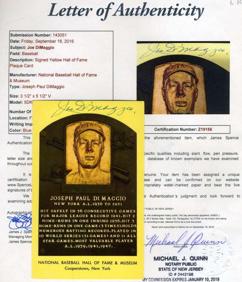 Joe Dimaggio Gold Hof Plaque Jsa Signed Authentic Autograph
