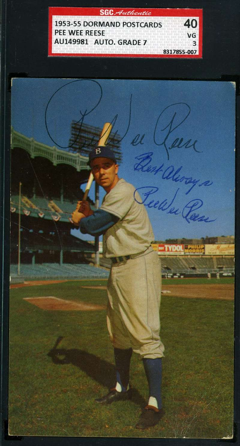 Pee Wee Reese Signed Postmark 1950`s Dormand Postcard Sgc  Authentic Autograph