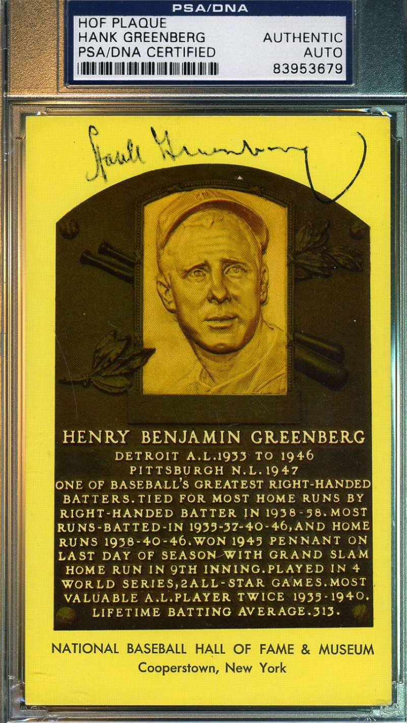 Hank Greenberg Signed Psa/dna Gold Hof Plaque Authentic Autograph