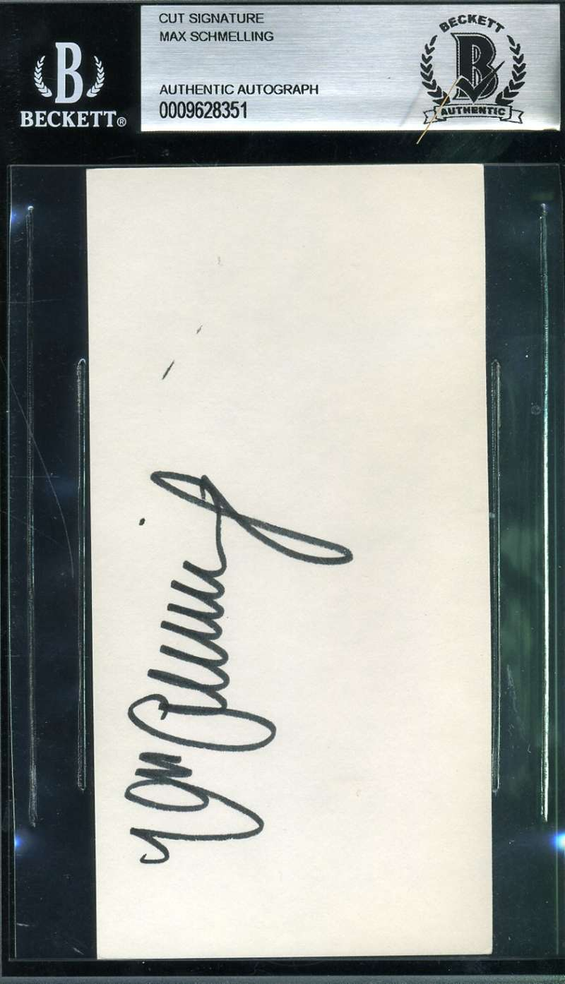 Max Schmelling Signed Bas Beckett Authentic 3x5 Index Card Autograph