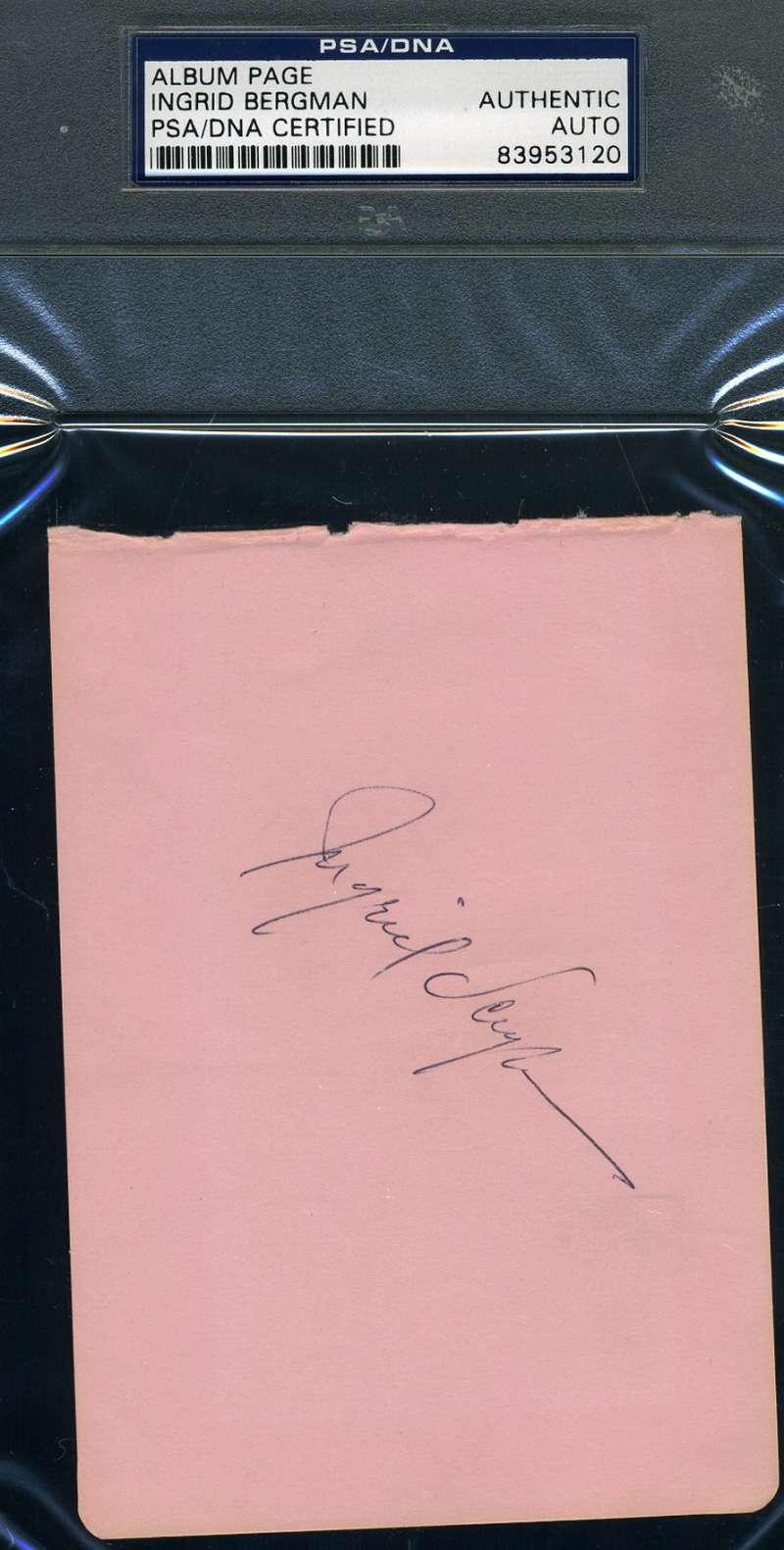 Ingrid Bergman Psa/dna Hand Signed Album Page Authenticated Autograph