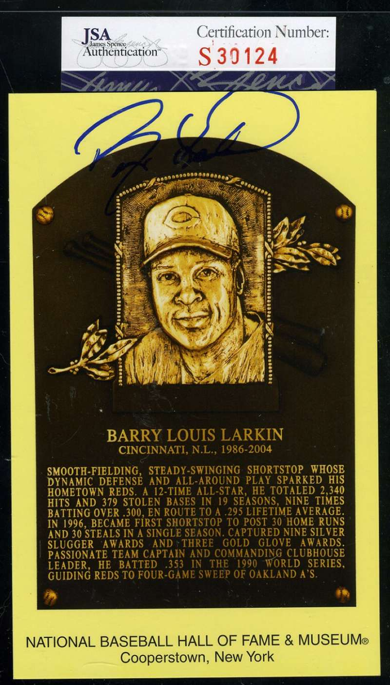 Barry Larkin Jsa Coa Certified Authentic Hand Signed Gold Hof Plaque Postcard Autograph