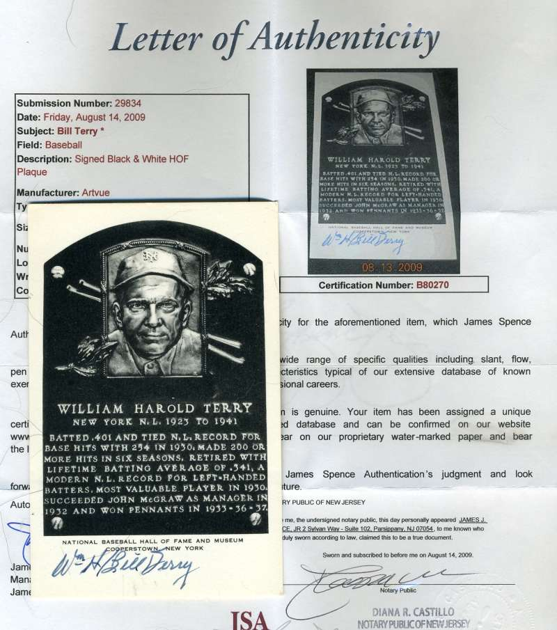Bill Terry Signed Black White Hof Plaque Jsa Authentic Autograph