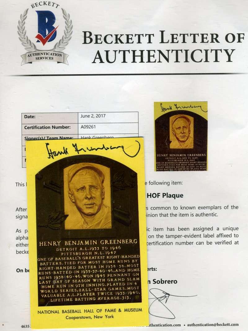 Hank Greenberg Signed Gold Hof Plaque Bas Beckett Authentic Autograph