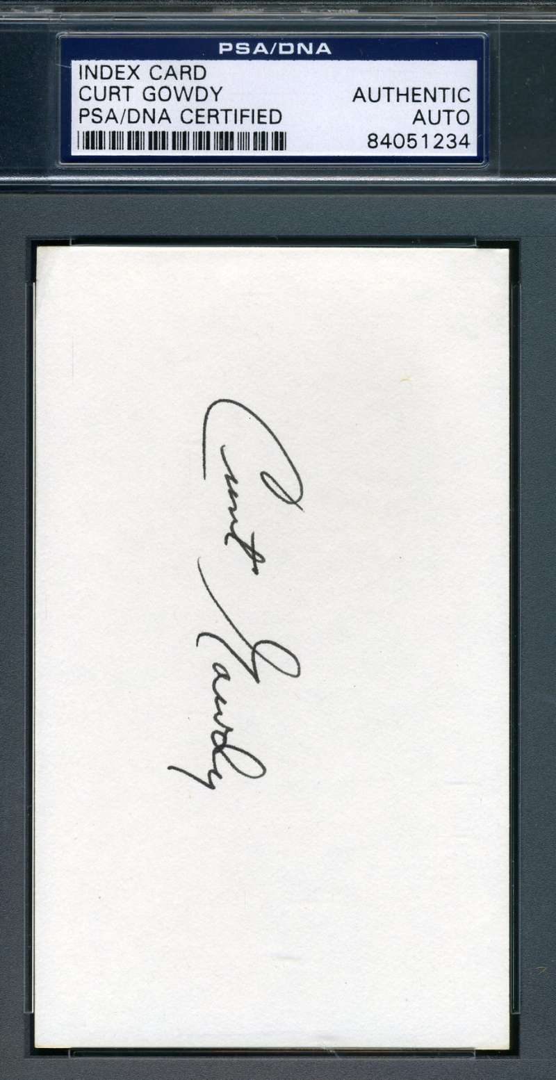 Curt Gowdy Psa Dna Coa Autograph 3x5 Index Card Hand Signed Authentic