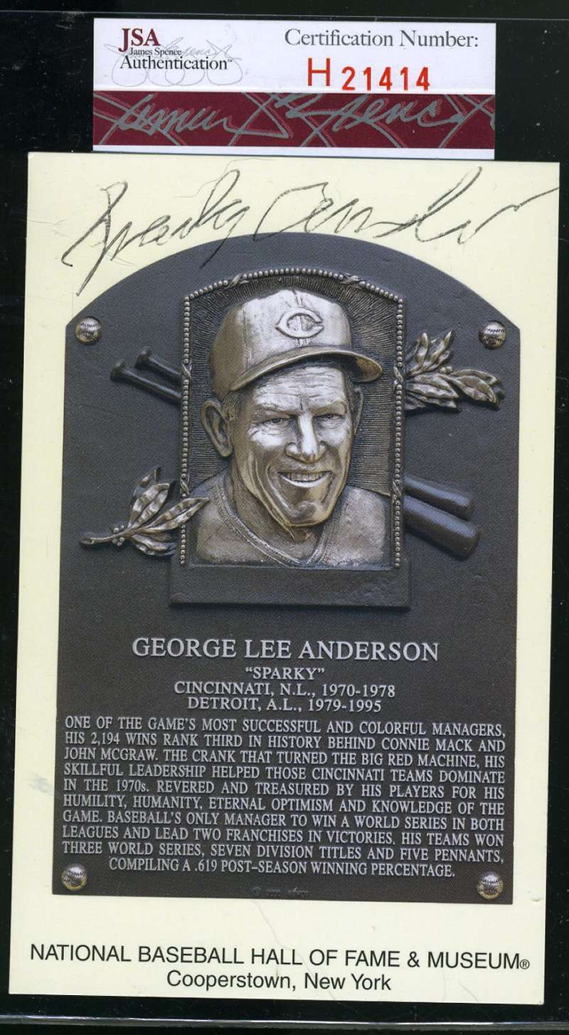 Sparky Anderson Jsa Coa Autograph Gold Hof Plaque Hand Signed Authentic