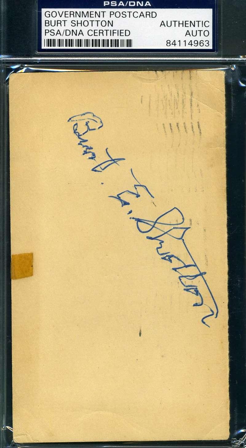 Burt Shotton Psa Dna Coa Autograph 1948 Gpc Postcard Hand Signed