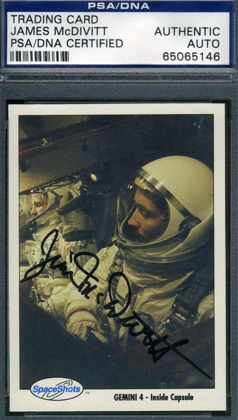 James Mcdivitt Psa Dna Hand Signed Gemini 4 Space Card Autograph