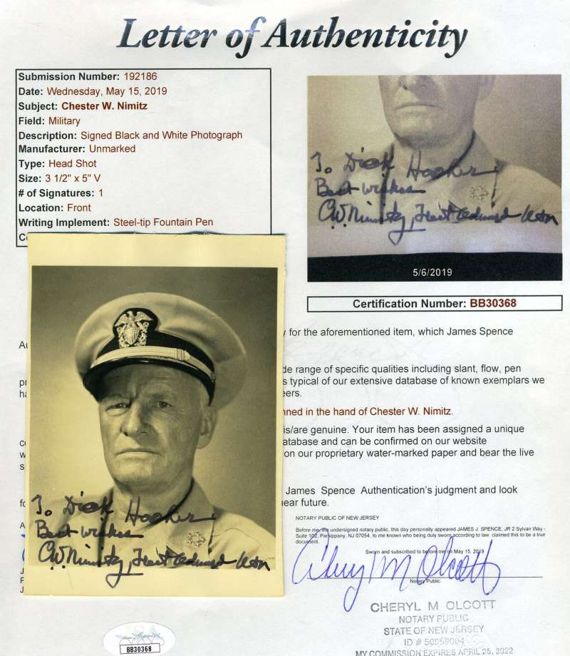 Admiral Chester Nimitz Jsa Coa Signed Photo Autograph