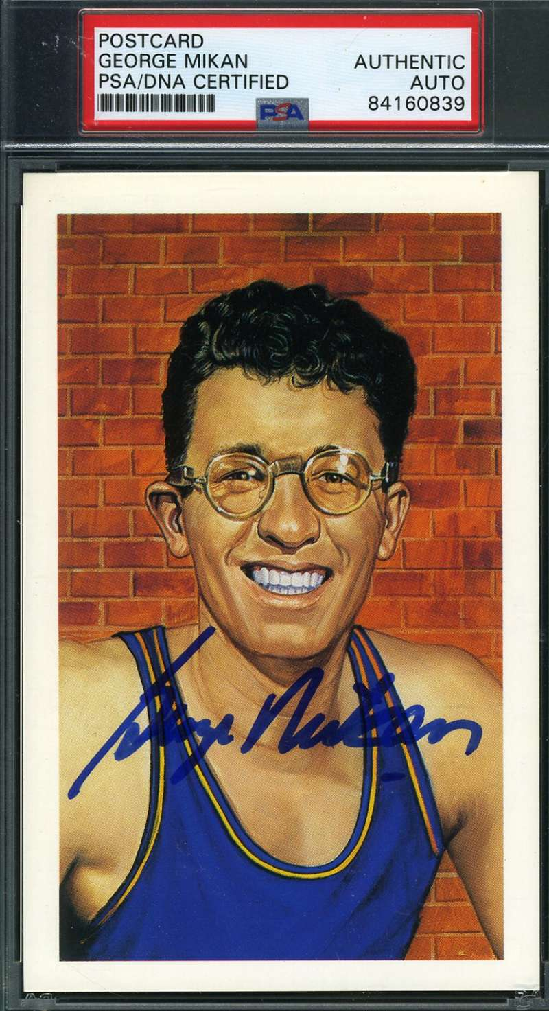 George Mikan Psa Dna Autograph  1992 Center Court Hof Postcard Hand Signed