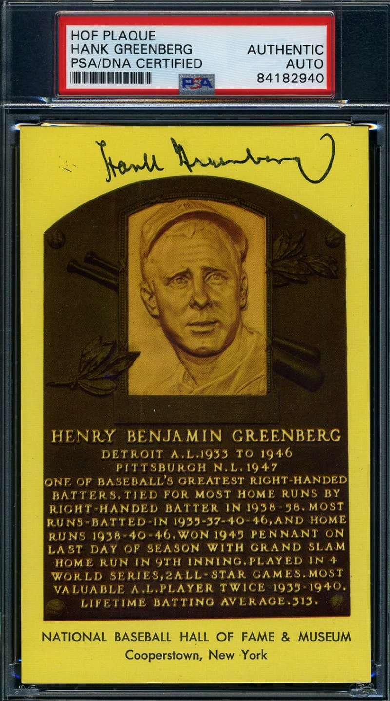 Hank Greenberg PSA DNA Cert Autograph Hand Signed Yellow HOF Plaque