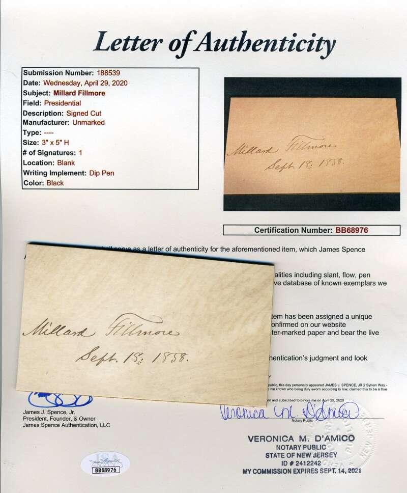 Millard Fillmore JSA Loa Hand Signed 3x5 1858 Cut Autograph