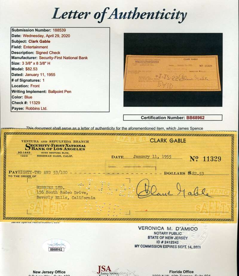 Clark Gable JSA Coa Signed 1955 Check Autograph