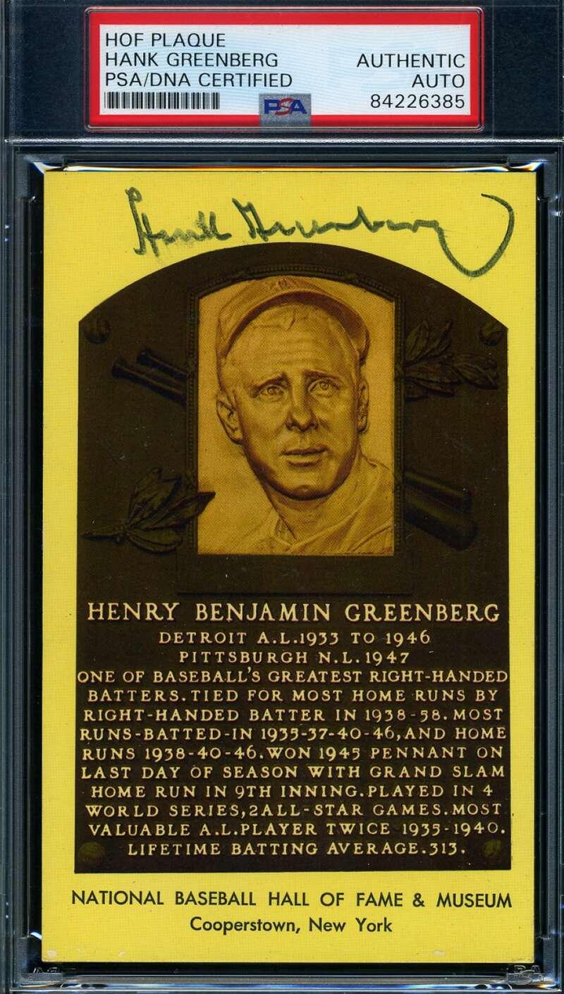Hank Greenberg PSA DNA Coa Autograph Hand Signed Gold HOF Plaque