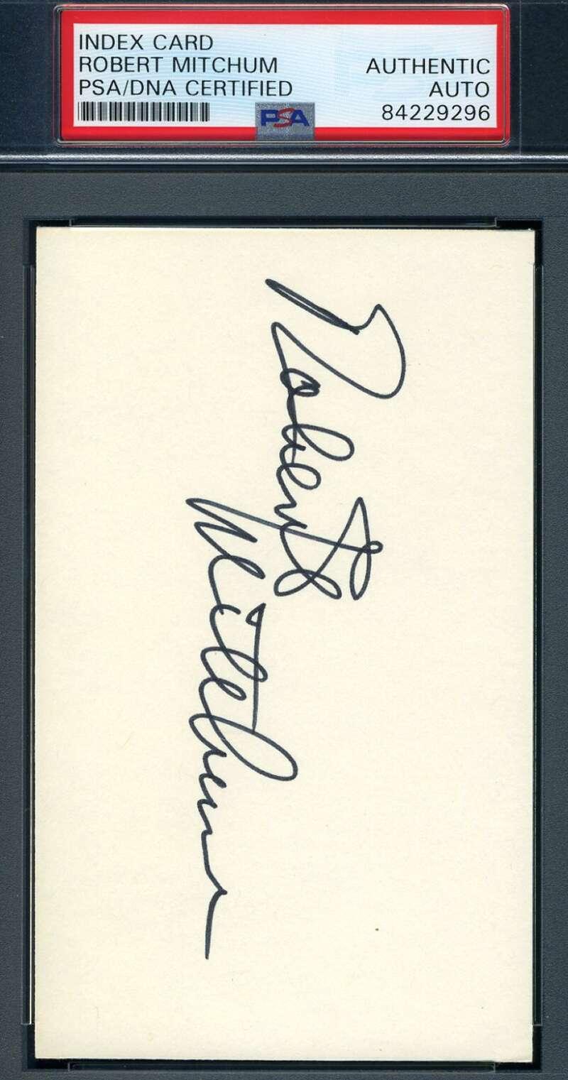 Robert Mitchum PSA DNA Coa Signed 3x5 Index Card Autograph