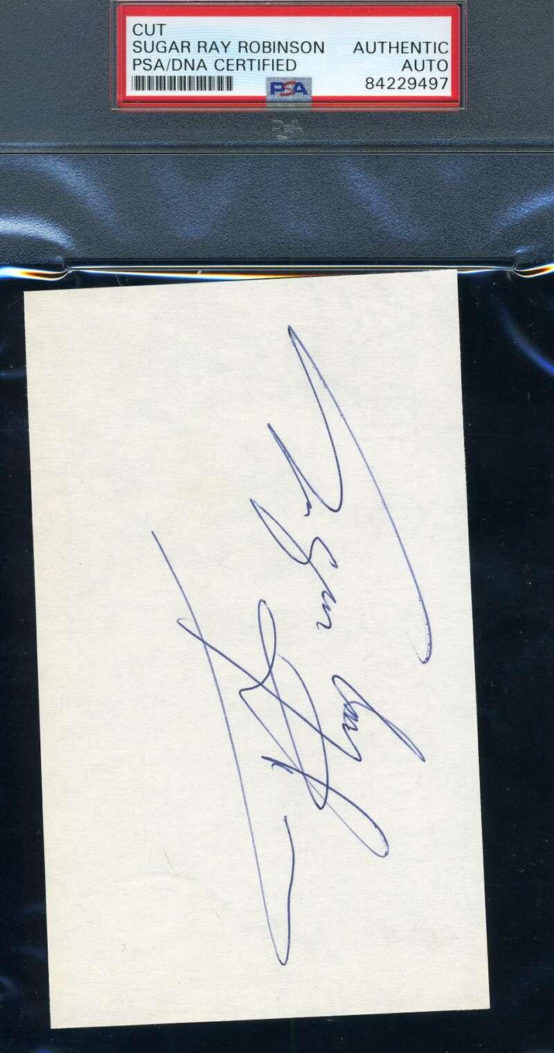 Sugar Ray Robinson PSA DNA Coa Autograph Hand Signed 3x5 Index Card