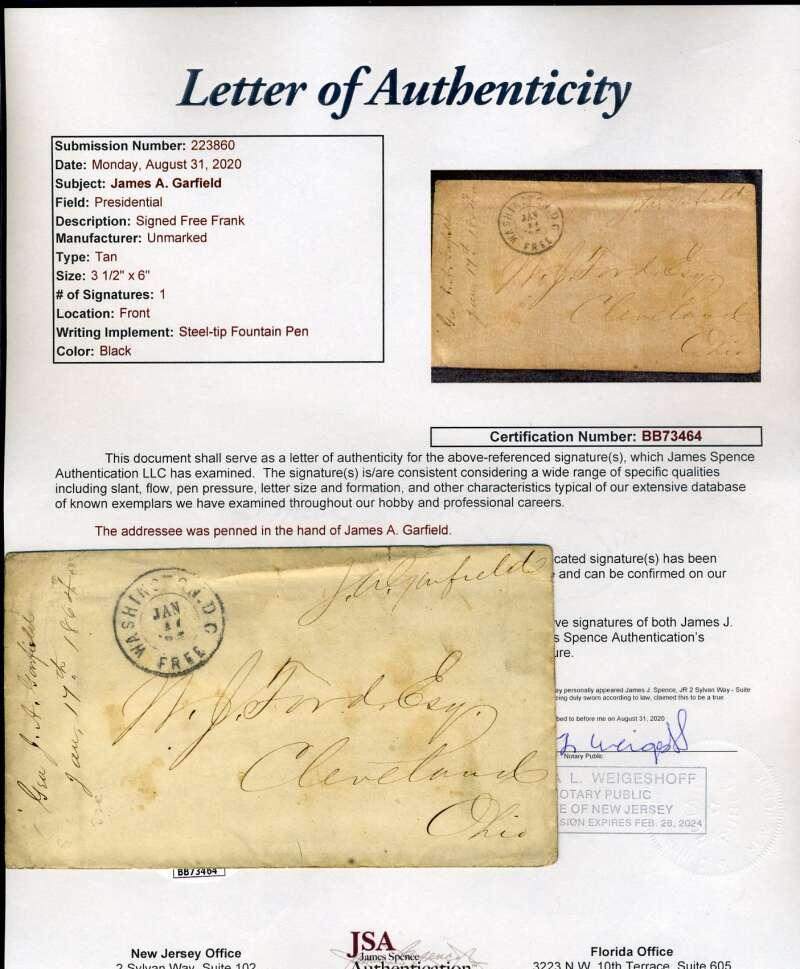 James Garfield JSA Loa Signed Free Frank Autograph