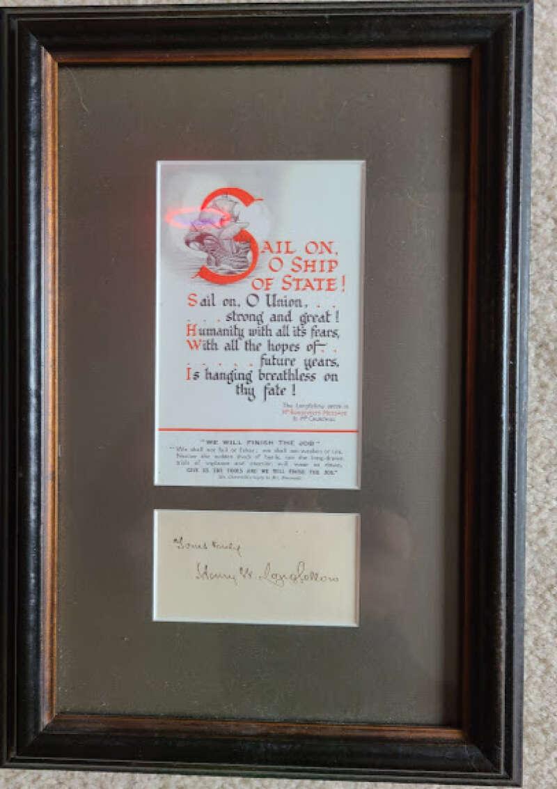 Henry Wadsworth Longfellow JSA Coa Hand Signed Framed With Passage Autograph