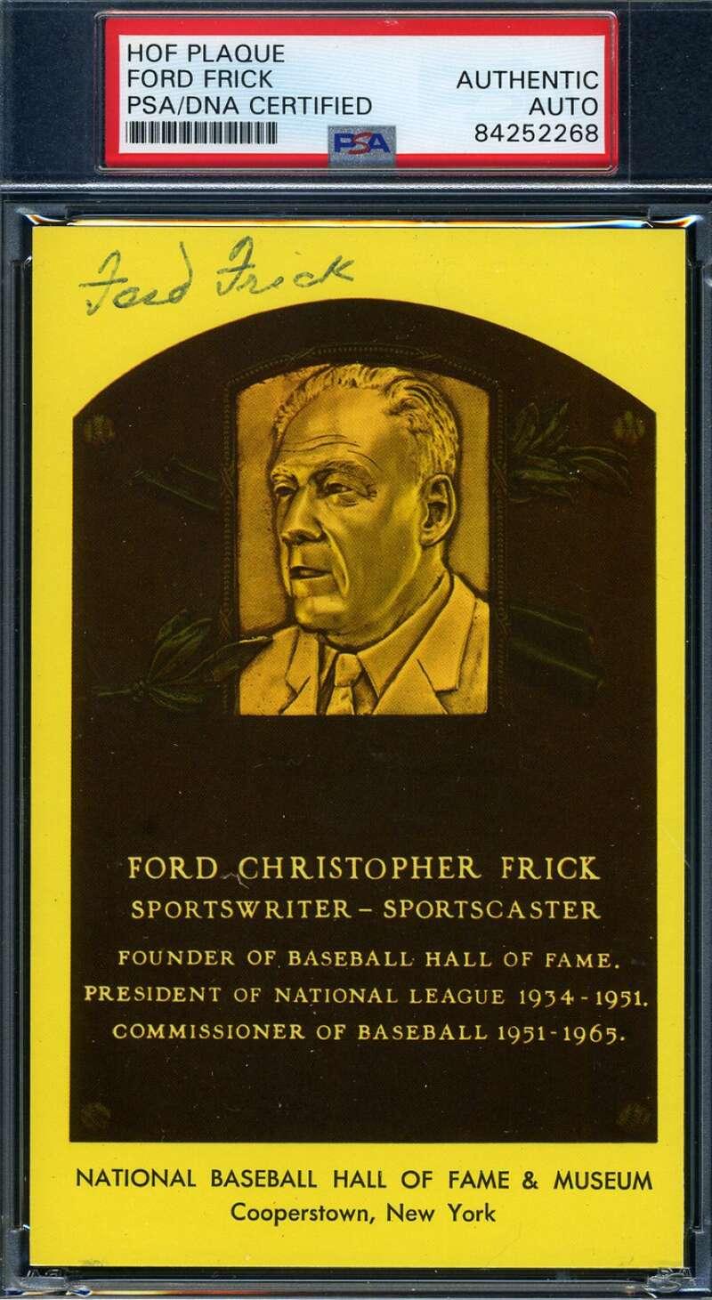 Ford Frick PSA DNA Coa Autograph Hand Signed Gold HOF Plaque Postcard