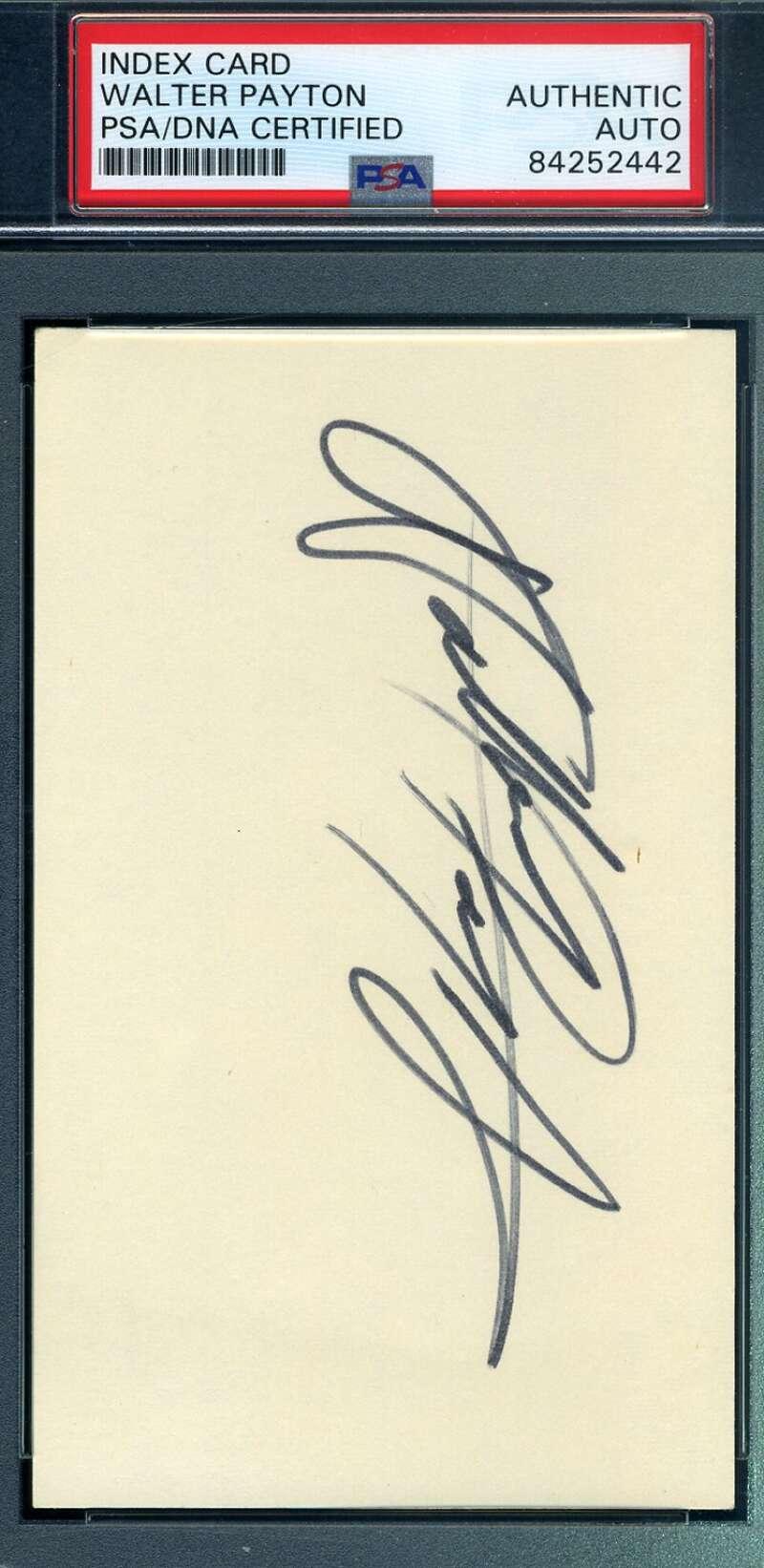Walter Payton PSA DNA Coa Hand Signed 3x5 Football Index Card Autograph