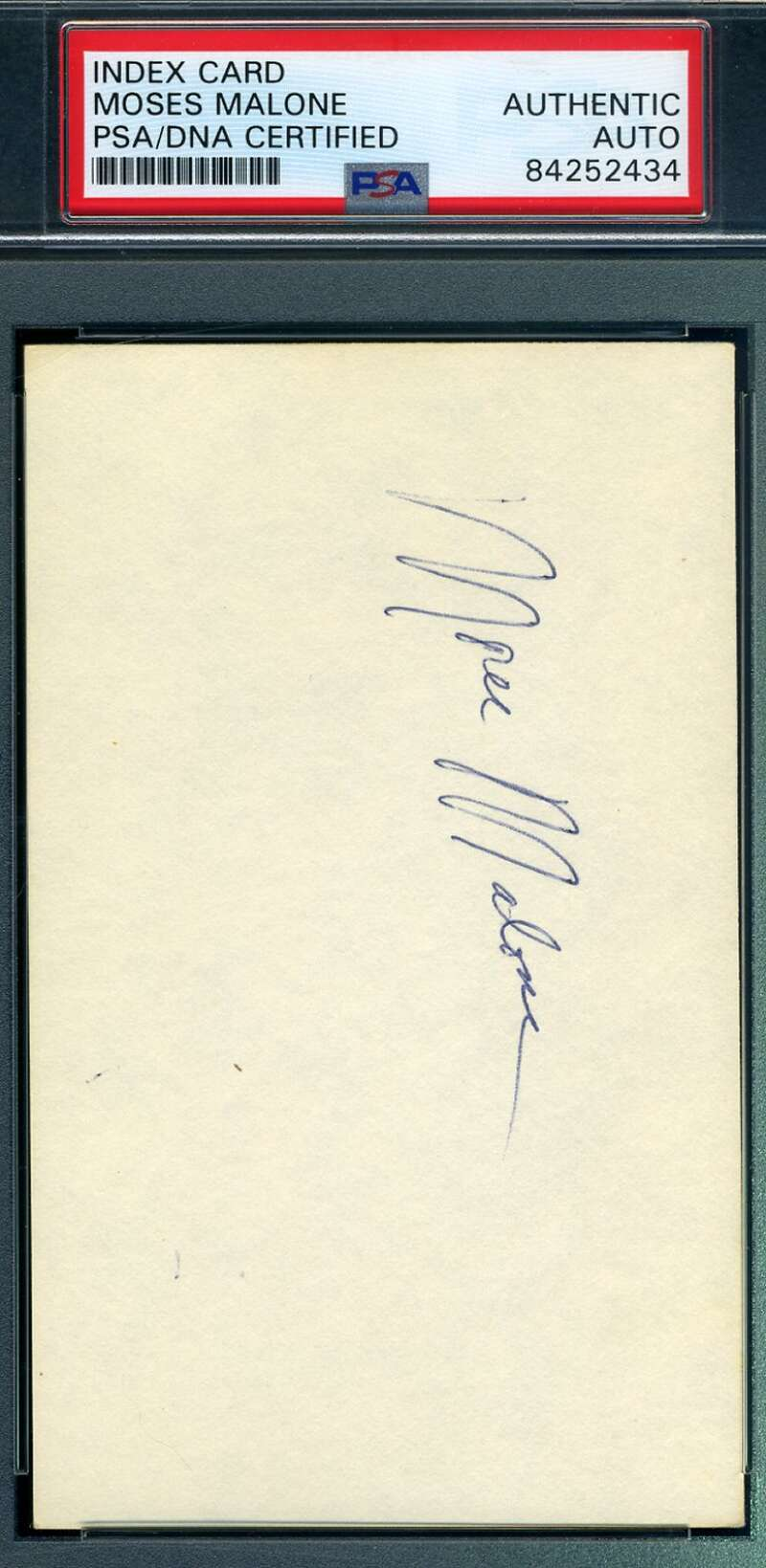 Moses Malone PSA DNA Coa Hand Signed 1976 3x5 Index Card Autograph