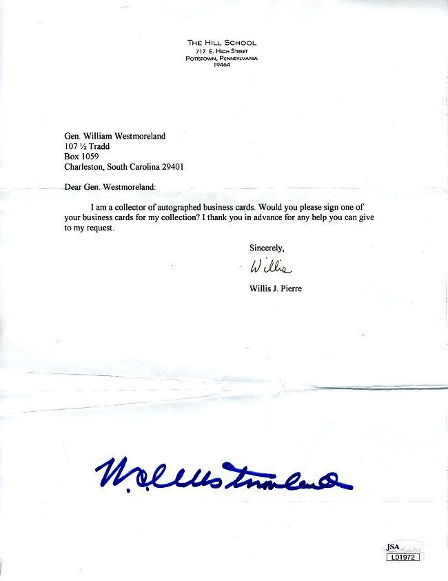 General William Westmoreland Jsa Authenticated Signed Letter Autograph