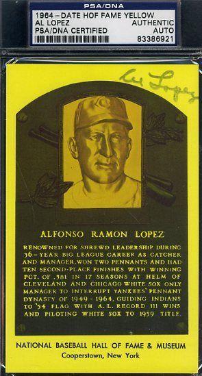 Al Lopez Signed Psa/dna Gold Hof Plaque Certified Autograph