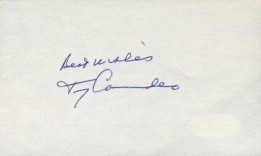 Tony Canadeo Hof Signed Jsa Cert Sticker 3x5 Index Card Authentic Autograph