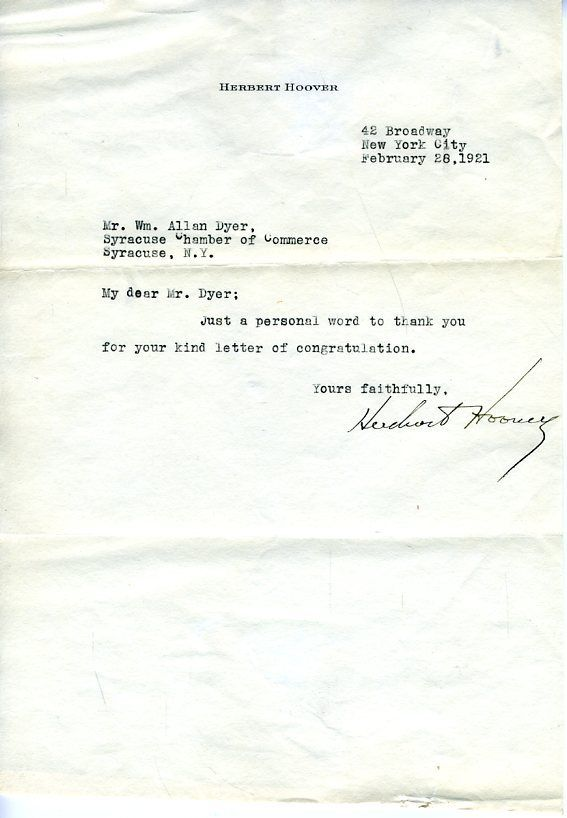 Herbert Hoover Jsa Authenticated Signed Letter Autograph