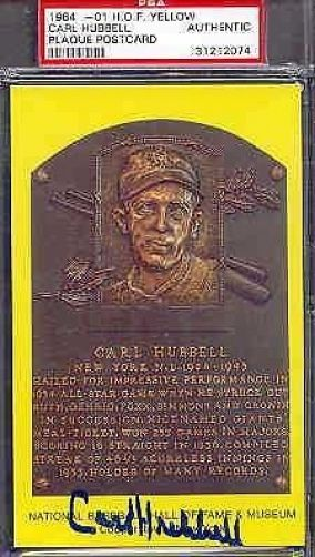 Carl Hubbell Signed Gold Hof Postcard Psa/dna Autograph Authentic