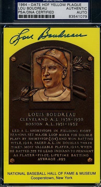 Lou Boudreau Psa/dna Signed Gold Hof Plaque Authentic Autograph