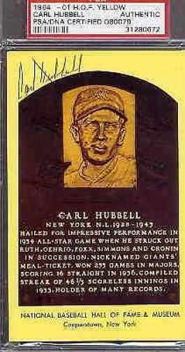 Carl Hubbell Signed 1964 Gold Plaque Psa/dna Slabbed Authentic