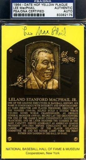 Lee Macphail Signed Psa/dna Certified Gold Hof Plaque Autograph