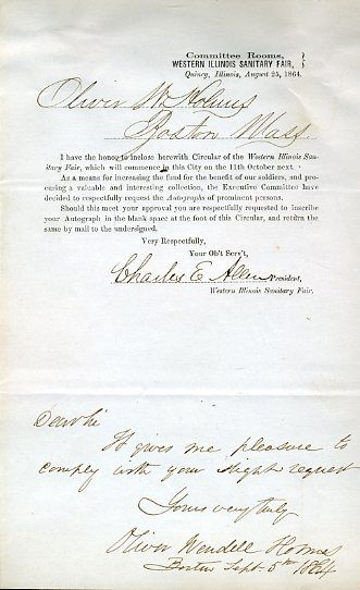 Oliver Wendell Holmes Jsa Certed Signed 1864 Document Authentic Autograph