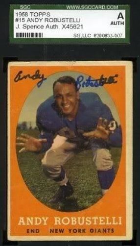 Andy Robustelli Signed Jsa Sgc 1958 Topps Autograph Authentic