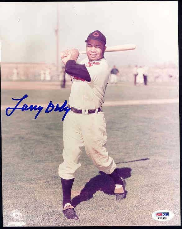 Larry Doby Signed 8x10 Photo Psa/dna Cert Autograph