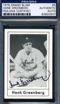 Hank Greenberg 1978 Grand Slam Signed Psa/dna Certified Authentic Autograph