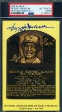 Reggie Jackson PSA DNA Coa Autograph Hand Signed Gold HOF Plaque Autograph