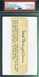 Edith Bolling Wilson Woodrow PSA DNA Coa Hand Signed 3x5 Index Cut Autograph
